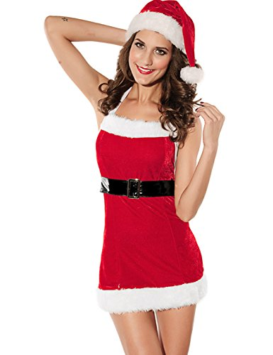 Crazy Miss Sexy Party Fancy Christmas Dress Adult Costume Xmas Claus Outfit
