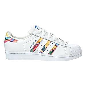 adidas Originals Women's Superstar W Fashion Sneaker, White/White/Lab Blue, 8 M US