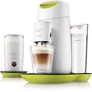 Philips HD7874/10 Senseo Twist & Milk Kaffeepadmaschine mit Milchaufschäumer (Touch-Display, 1450 Watt) lime gelb/weiß