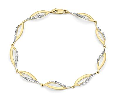 Carissima 9ct Yellow Gold 0.21ct Diamond Twist Bracelet 18cm/7""