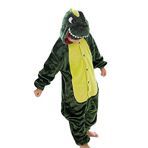 [JT-Amigo Kids Unisex Cosplay Pajamas Onesie Costume, Green Dinosaur, 9-11 Years] (Cosplay Costumes For Boys Kids)