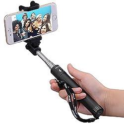 [New Generation] Mpow iSnap X One-piece U-Shape Self-portrait Monopod Extendable Selfie Stick with built-in Bluetooth Remote Shutter-Black