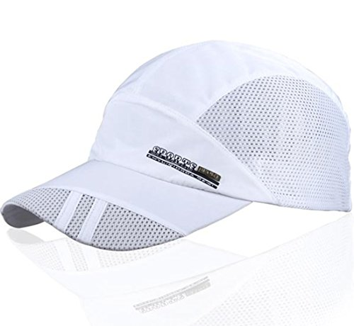 Junjiexr Men's Summer Quick Dry Sport Flex Bill Ballball Twill Cap (One Size, White)