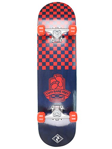 two-bare-feet-kids-double-kick-complete-skateboard-cruiser-concave-deck-checkmate-blue-red-31-x-8-in