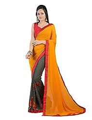 Shree Sanskruti Georgette Half Half Designer Sari With Raw Silk Blouse Pic