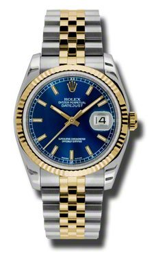 Rolex Datejust Blue Dial Automatic Stainless Steel and 18K Yellow Gold Mens Watch 116233BLSJ