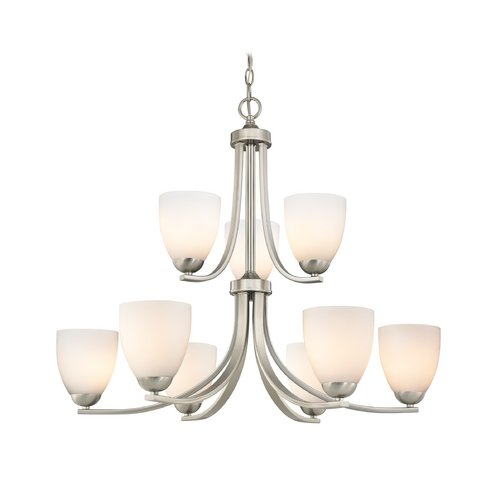 Satin Nickel Chandelier with Nine Lights and Satin White Glass coupon codes 2015