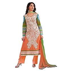 Paridhan Women'S Orange Cotton Embroidered Suit 14702B