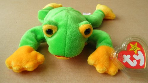 TY Beanie Babies Smoochy the Frog Stuffed Animal Plush Toy - 8 inches long - 1