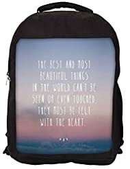 Snoogg Felt With The Heart Backpack Rucksack School Travel Unisex Casual Canvas Bag Bookbag Satchel