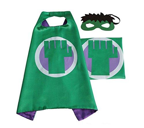 Rush Dance Deluxe Comics Satin Unisex Super Hero CAPE & Matching MASK (Green & Purple (Hulk))