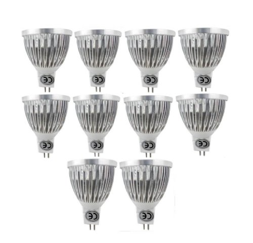 Lenbo 10Pcs/Lot Dimmable Led Bulb Light Mr16 Lamp 12V Ac/Dc Led Lights Lamps Spotlight 4W Cool White Warm White 3000K 6000K - 50Watt Equivalent 4000 Lumen 60 Degree Beam Angle For Landscape, Recessed, Track Lighting Ship From Usa (Cool White)