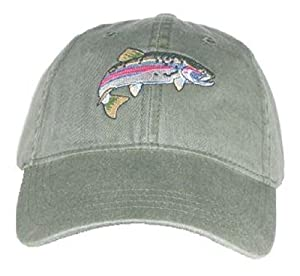 Rainbow Trout Embroidered Cotton Cap