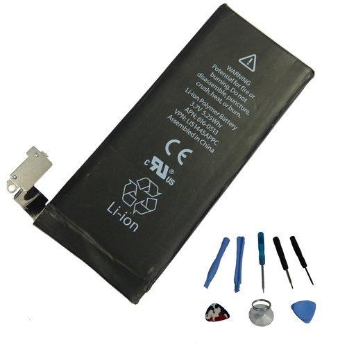 AGPtek Black 3.7V 1420mAh Li-ion Replacement Battery with 8pcs Multi Purpose Tools Kit for iPhone 4 4G 16G 32G