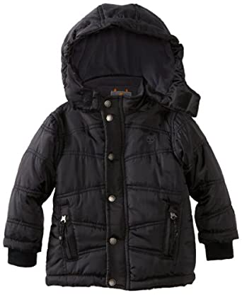 Timberland Little Boys' Metro Bubble Jacket, Black, 4T