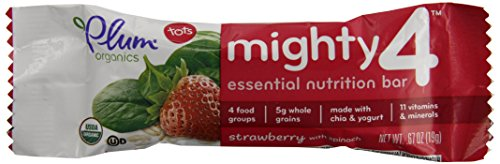 Plum Organics Mighty 4 Essential Nutrition Bars Strawberry with Spinach, 6 ct