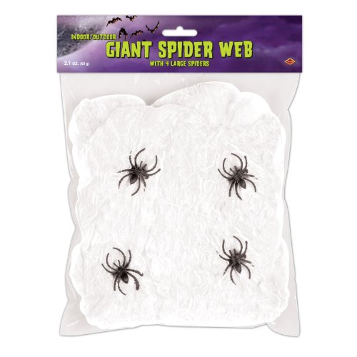 FR Giant Spider Web (white; 4 - 2 spiders included) Party Accessory  (1 count) (2.1Ozs/Pkg)