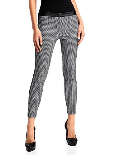 oodji Ultra Donna Pantaloni Skinny con Cintura e Furnitura in Semipelle, Bianco, IT 44 / EU 40 / M