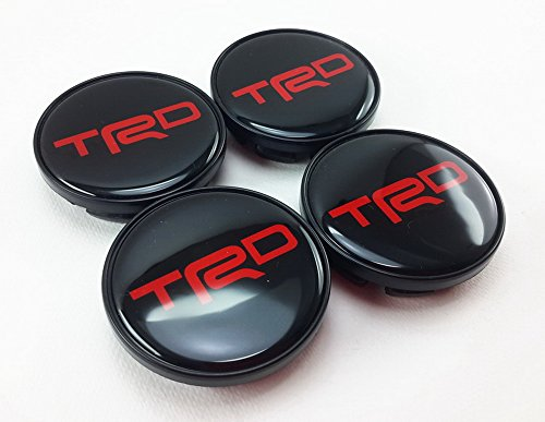 Center Wheel Hub Caps Cup Cover Logo TRD Black Letter Red Size 58mm. Set of 4pcs. (Bullitt Emblem compare prices)