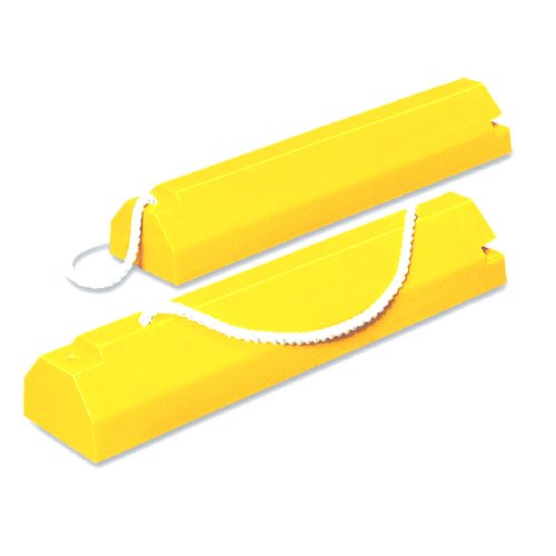 "Tigerchocks AC6820-LR Urethane Military Aircraft Wheel Chock, Hi-Vis Yellow, 20"" Length, 8"" Width, 6"" Height"
