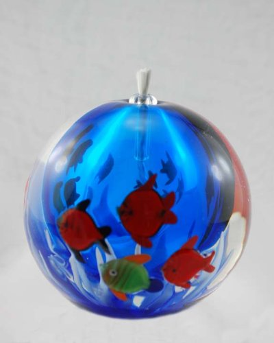 Glass Oil Lamp, Oil Candle: Oceanscape