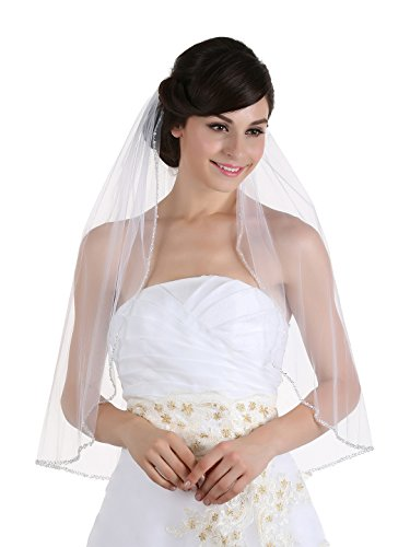 1T 1 Tier Crystals Pearls Beaded Wedding Veil ( Elbow Length 30