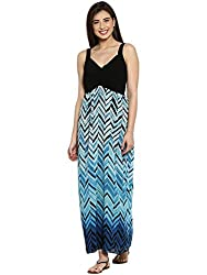 Ladybug Womens Pleated Georgette Maxi Dress- Black and Blue Print