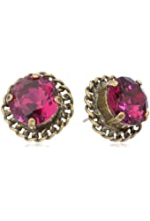 "Sorrelli ""Pink Orchid"" Woven Detail Crystal Gold-Tone Stud Earrings"