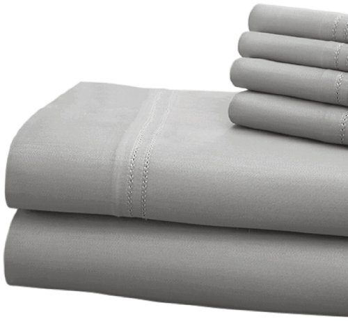 Cht Hotel Collection 1000 Thread Count 6-Piece Sheet Set With Double Hem Finish, Queen, Platinum front-872661
