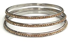 SPECIAL PRICE SET OF 3 FOR THE PRICE OF 2 Stainless Steel Slip-on Thin Bangle with One Row Champagne Crystals.