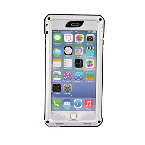 """Pepkoo Ultimate Series Aluminum Metal Military Heavy Duty Protective Case For Apple Iphone 6 4.7"""" Screen (Silver/Black)"""