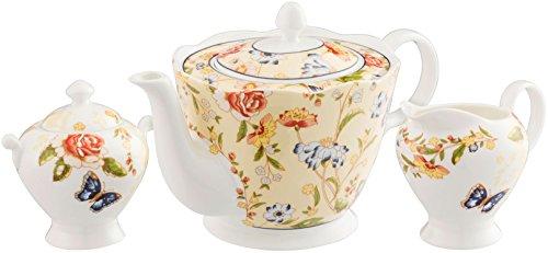 Aynsley Cottage Garden 3 Piece Set (Teapot, Cream & Sugar) (Aynsley Teapot compare prices)