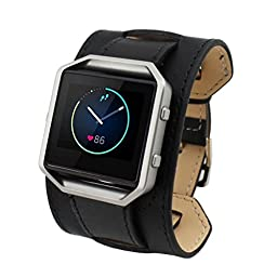 For Fitbit Blaze Accessory Band, HP95(TM) Sports PU Leather Watch Band Replacement Watch Band Adjustable Watch Band Wrist strap for Fitbit Blaze Smart Watch (Black)