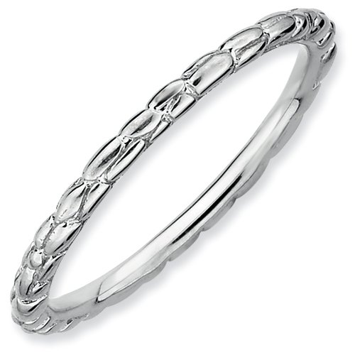 Sterling Silver Stackable Expressions Rhodium Twisted Ring (Size 6)