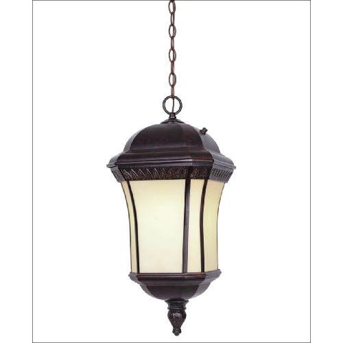 Energy Star Hanging Lantern   Distressed Bronze Finish  Pompei Glass