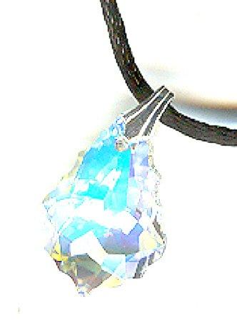 Baroque Drop Swarovski Crystal Pendant Necklace ~ Crystal AB