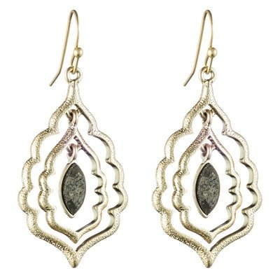 12K Plated Gold Pyrite Center Drop Earring