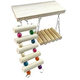 3pcs/set Rat Mouse Hamster Parrot Pet Bird Hanging Ladder Bridge Shelf Cage Climb Toys