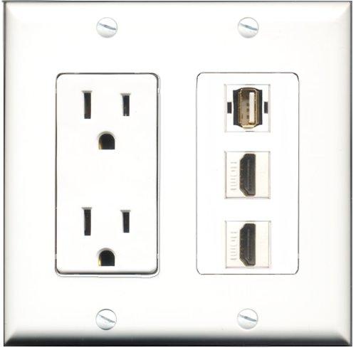 Riteav - 15 Amp Power Outlet 2 Port Hdmi 1 Port Usb A-A Decora Wall Plate