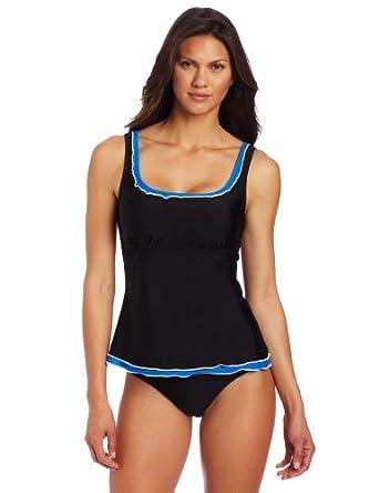 Ocean Avenue Women's Ruffle Scoop Tankini Top, Black, X-Large