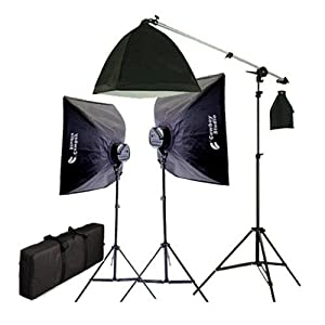 CowboyStudio 2275 Watt Digital Video Continuous Softbox Lighting Kit/Boom Set