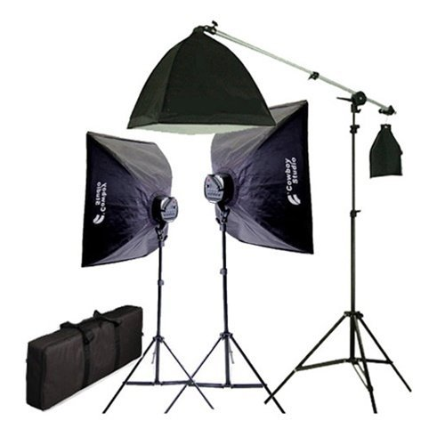 CowboyStudio 2275 Watt Digital Video Continuous Softbox 5 Head Lighting Kit/Boom Set