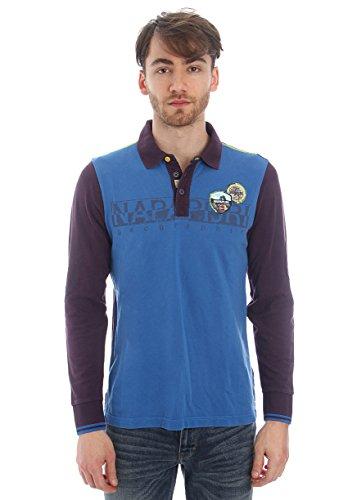 Napapijri-Polo in cotone piquet bicolore - blu/blu cobalto-Male-4794684