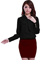 Allegra K Women's Tie-Bow Neck Puff Sleeve Buttoned Cuff Chiffon Blouse