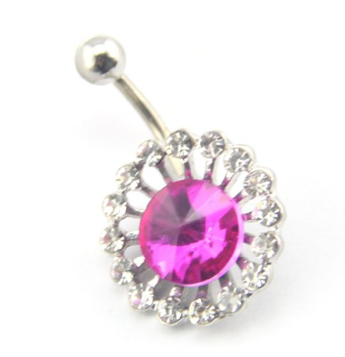 Baqi 14G Clear & Rose Red Rhinestones Flower Shape Belly Navel Bar No-Dangle Ring Rose