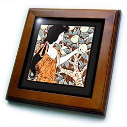Florene Art Deco and Nouveau - Image of nouveau lady picking apples - Framed Tiles - 8x8 Framed Tile