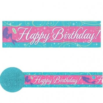 Amscan Disney's Ariel Decorative Crepe Party Streamer, Blue/Pink, 30'