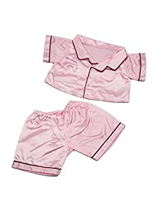 """Pink Satin PJ's Clothes Outfit Fit 14"""" - 18"""" Build-A-Bear, Vermont Teddy Bears, and Make Your Own Stuffed Animals"""