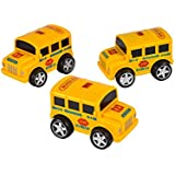 "Rev Up And Go Friction 4"" Yellow School Bus Toy Car Vehicle"
