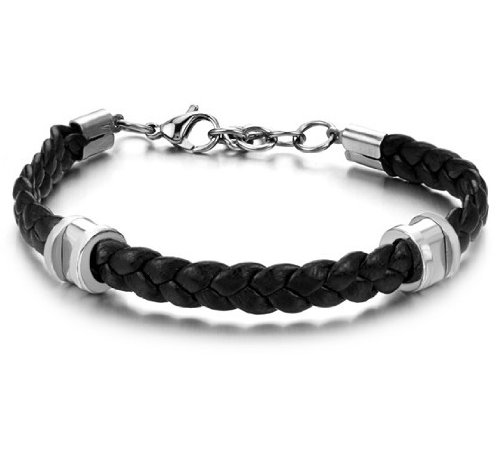 OPK South Korea Style New Fashion Simple Leather Titanium Stainless steel Women's Bracelet Bangle Best Gift!
